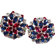 Vintage Showstopper Ruby Red White Blue Rhinestone Earrings. B.E. Cook London Patriotic USA Rhinestone Earrings.