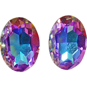 Vintage Swarovski Single AB Stone Earrings. Aurora Borealis Rainbow Effect Oval Glass Rhinestone Earrings.