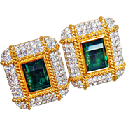 Vintage Swarovski Green Emerald and White Diamond Earrings. Gold Plated Faux Emerald Green Glass and Clear Rhinestone Earrings