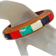 Vintage Wood and Inlaid Dyed Bone Bracelet. Wood and Coral, Onyx, Mother of Pearl, Faux Jade Dyed Bone Bangle.