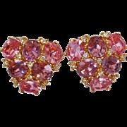 Vintage Ciner Pink Purple Rhinestone Earrings. Glass Pink and Purple Rhinestone Earrings by Ciner.