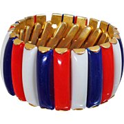 Vintage Red White Blue Expansion Bracelet. 1950s. Hong Kong. Red White Blue Lucite. Gold Tone. Wide.