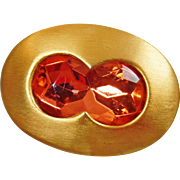 Vintage Jay Feinberg Peach Pink Rhinestone Brooch. Large Faceted Peach Pink Rhinestone Brushed Gold Pin.