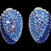 Vintage Two Tone Large Dark and Light Blue Rhinestone Earrings. Aquamarine and Sapphire Blue Rhinestone Earrings.