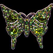 Vintage Kenneth J. Lane Butterfly Brooch. KJL Green Rhinestone Butterfly Pin. Signed Kenneth Lane Green Butterfly Brooch.