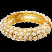 Vintage KJL Gold Pearl Hinged Bangle. Kenneth J. Lane Pearl Bracelet. Vintage Kenneth J Lane Bracelet