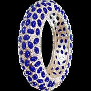 Vintage Silver Blue Pearl Hinged Bangle. Kenneth J. Lane Style Pearl Bracelet. Unsigned Vintage Kenneth J Lane Bracelet