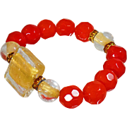 Vintage Art Glass Gold Carnelian Red Bracelet. Handmade Orange Red Beads. Rhinestone Rondelles. Clear Filled Gold Red Glass Beads