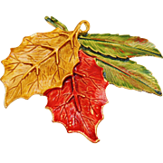 Vintage Autumn Leaf Brooch and Pendant. Tara. Orange Yellow Green Fall Leaves Pin.