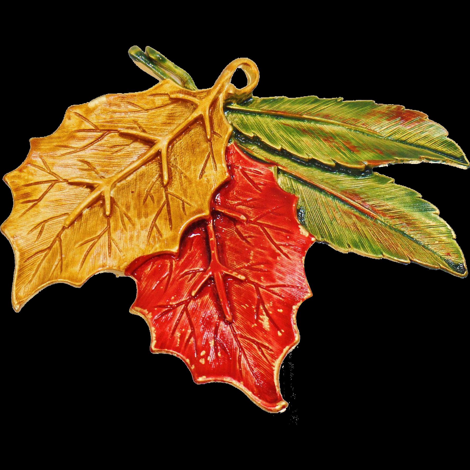 Vintage Autumn Leaf Brooch and Pendant. Tara. Orange Yellow Green Fall Leaves Pin.