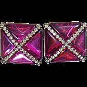 Vintage Showstopper Amethyst Purple X Earrings. Purple Amethyst Triangle and Channel Set Clear Rhinestone X Earrings.