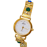 Vintage Faberge Ladies Watch. Women's Green Red Blue Rhinestones Gold Watch. Designer Watch.