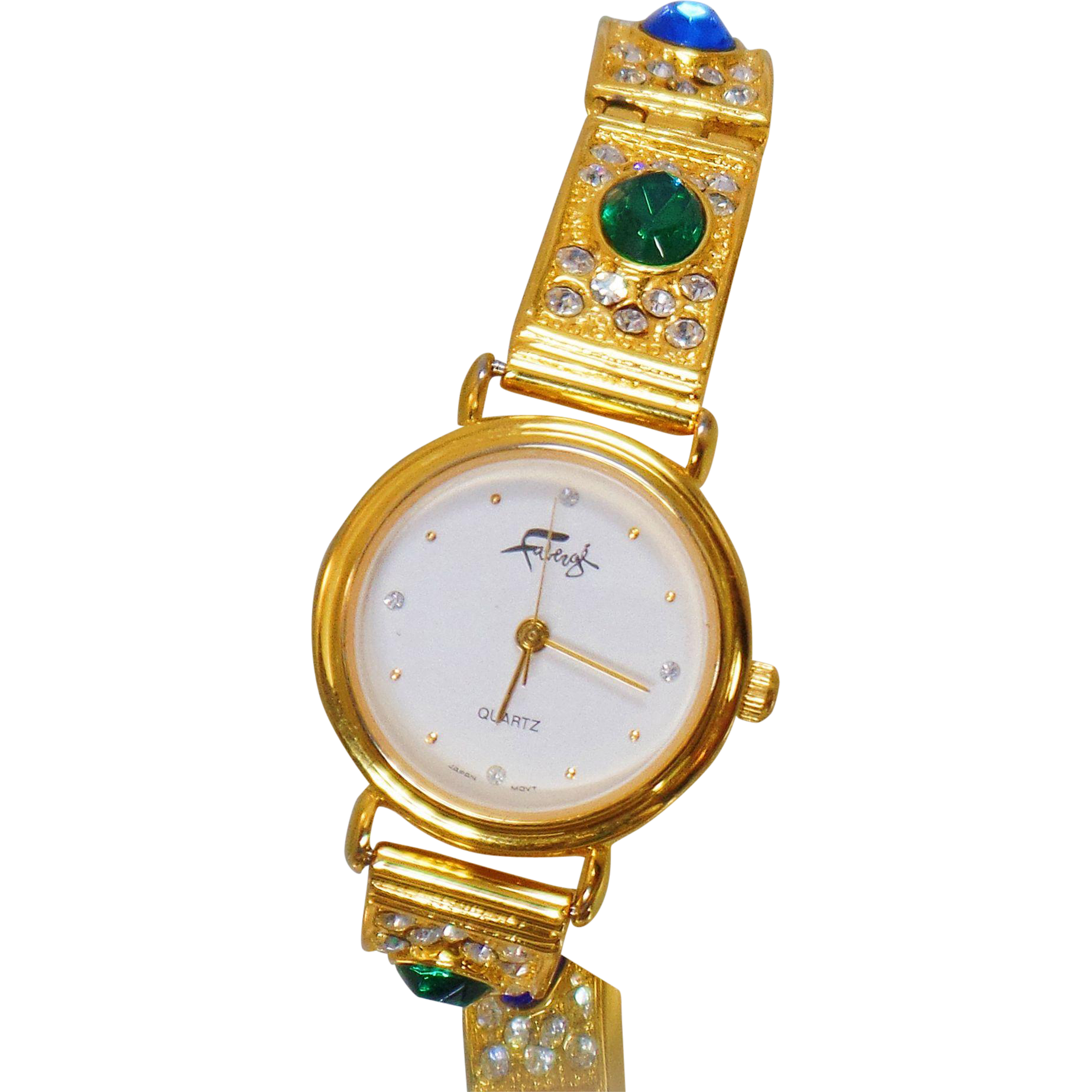 Vintage Faberge Ladies Watch. Women's Green Red Blue Rhinestones Gold Watch. Designer Watch.