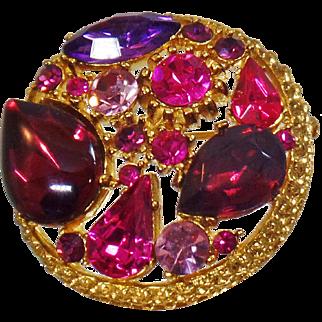 Vintage Sphinx Purple Pink Garnet Rhinestone Brooch. Round Sphinx Fruit Salad Rhinestone Pin.