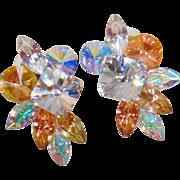 Vintage Huge Swarovski Glass Rhinestone Earrings. Large Clear and Champagne Rhinestone Earrings. Bold 80s Earrings.