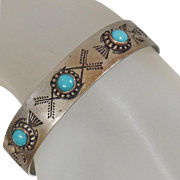 Vintage Three Stone Navajo Turquoise Bracelet. Small Silver Thunderbird Turquoise Cuff. Child's Turquoise Bracelet.