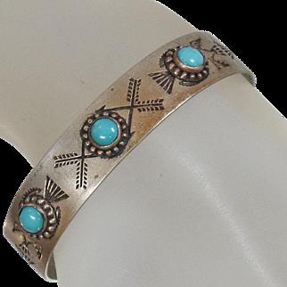 Vintage Three Stone Navajo Turquoise Bracelet. Small Silver Thunderbird Turquoise Cuff. Child's Turquoise Bracelet.