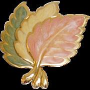 Vintage Three Leaf Brooch. Enamel Autumn Leaves Brooch. Frosted 3 Fall Leaf Pin.