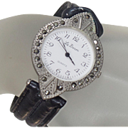Vintage Marcasite Rhinestone Watch. Le Baron. Women's Watch. Black and Silver Black Rhinestone Watch.