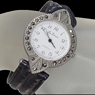 Vintage Marcasite Rhinestone Watch. Le Baron. Women's Watch. Black and Silver Black Rhinestone Watch.