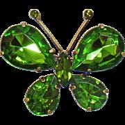 Vintage Large Green Rhinestone Butterfly Brooch. Green Rhinestone Butterfly Pin.