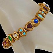 Vintage Goldette Slide Bracelet. Victorian Revival Goldette Bracelet. 19 Slide Bracelet.