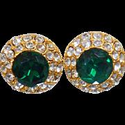 Vintage Swarovski Green Emerald and White Diamond Earrings. Blair Delmonico. Gold Faux Emerald Green and Clear Rhinestone Earrings