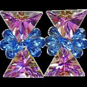 Vintage Huge Swarovski Runway Glass Rhinestone Earrings. Esq.Capade by Joni. Large Blue Purple Prism Rhinestone Earrings. Bold 80s Earrings
