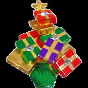 Vintage Christmas Gift Tree Brooch. Christmas Presents Tree Pin. Rhinestone Christmas Tree Brooch. Holiday Brooch.