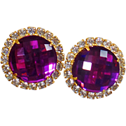 Vintage Showstopper Clear and Purple Rhinestone Earrings. Purple Amethyst Checkerboard Cut and Clear Rhinestone Earrings.
