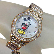 Vintage Rhinestone Mickey Mouse Watch. Blingy Disney Mickey Mouse Watch.