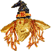 Vintage Rare Wicked Witch Brooch. JJ. Evil Ugly Witch Pin. Fall Pin. Autumn. Halloween.