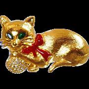Vintage Napier Rhinestone Cat Brooch. Pampered Kitten Kitty Cat Pin. Gold Rhinestone Cat Brooch