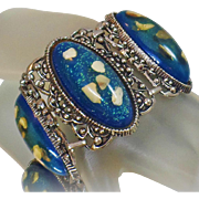 Vintage Selro Confetti Bracelet. Blue Glitter Lucite Confetti Link Bracelet by Selro.