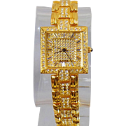 Vintage Gold Rhinestone Ladies Watch. Geneve Elegante. Blingy Women's Watch. Gold Plated Rhinestone Watch.
