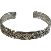 Vintage Silver Celtic Knot Bracelet. Sterling Silver Celtic Knot Cuff Bracelet. 925 Silver Bracelet.