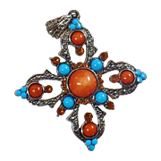 Vintage Brown Bead and Turquoise Maltese Cross Pendant. Faux Turquoise and Faux Brown Agate Rhinestone Cross Pendant.