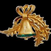 Vintage Pell Rhinestone Christmas Bell Brooch. Gold, Red and Green Rhinestone Bell Pin. Christmas Brooch. Holiday Pin.