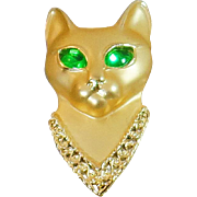 Vintage Egyptian Cat Brooch. AJC. Brushed Gold Green Eyed Cat Pin. Green Rhinestone Cat Brooch.
