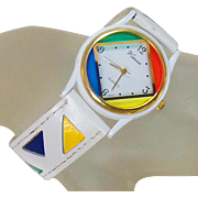 Vintage Vienna Color Block Ladies Watch. White Leather Vienna Colorblock Ladies Watch. Women's Watch.