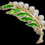 Vintage Pearl Branch Brooch. JJ. Vintage Faux Pearl, Rhinestone and Leaf Pin.