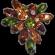 Vintage Green Amber Brown Rhinestone Spray Brooch. Green Brown Rhinestone Cluster Pin.