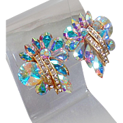 Vintage Huge Swarovski Glass Rhinestone Earrings. Large Clear and Rainbow AB Rhinestone Earrings. Bold 80s Earrings.