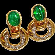 Vintage Swarovski Green Flawed Emerald and White Diamond Earrings. Gold Plated Flawed Emerald and Clear Rhinestone Doorknocker Earrings