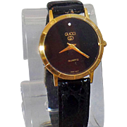 Vintage Black Diamond Gucci Watch. Ladies Gucci Watch. Women's Gucci Designer Watch.