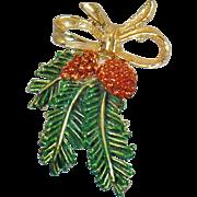 Vintage Christmas Pine Branch Brooch. Pine Cone Christmas Pin. Gerry's Christmas Pin.