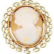 Vintage Krementz Cameo Brooch. Gold Natural Shell Carved Cameo Pin by Krementz. Rolled Gold Cameo Brooch.