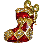 Vintage Rhinestone Christmas Stocking Brooch. Vintage Christmas Stocking Pin. Red Gold Rhinestone Christmas Stocking Brooch.