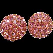 Vintage Ciner Pink Rhinestone Earrings. Glass Pink Rhinestone Earrings by Ciner.