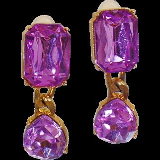 Vintage Rare Les Bernard Pink Purple Rhinestone Earrings. Gold Les Bernard Dangling Earrings. Pink Purple Rhinestone Designer
